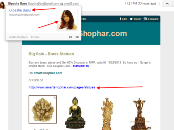 Bipasha Basu is selling Brass Statues :)